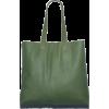 Zwina Habibi Square Leather Tote In Leaf - Hand bag -
