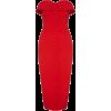 Платье декольте с пуговицами красный - Vestidos -