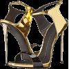 black and gold sandals - Сандали -