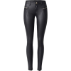 black leather pants zipper pocket - 牛仔裤 -