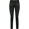 black leather pants zipper pocket - Джинсы -