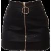 black zip front skirt - Skirts -