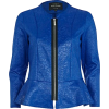 Blue Leather Jacket - Jacket - coats -