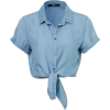 blue front-tie cropped shirt - Camicie (corte) -