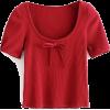 bow U-neck thread T-shirt - Shirts - $19.99