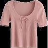 bow U-neck thread T-shirt - Srajce - kratke - $19.99  ~ 17.17€