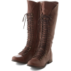 brown lace up knee high boots - Stivali -