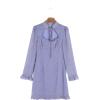 cheongsam sweet taro polka dot dress - Dresses - $23.99
