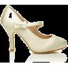 creme white satin mary jane - Klassische Schuhe -