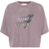cropped purple saint laurent tee - T-shirts -