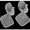 grey plaid earrings - Brincos -