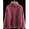light red turtleneck - Pullovers -