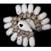 #milkglass #rhinestone #earrings #clips - Earrings - $19.00