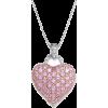 pink diamond heart necklace - Ogrlice -