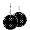 polka dot black white earrings - Earrings -
