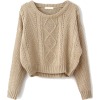 sheinside Cable Knit Pullover - Swetry -