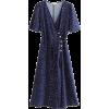 side button wrap lace-up slit dress - Dresses - $27.99
