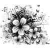 flowers black and white - Illustraciones -