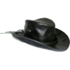 Black Leather Cowboy Hat - Sombreros -