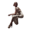 Girl in white dress sitting - People -