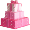 Pink Layered Present Cake - Illustrazioni -