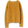 wool mixed fur boat neck knit - Swetry -