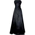 PacificPlex - 50's Strapless Satin Long Gown Bridesmaid Prom Dress Holiday Formal Junior Plus Size Black - Dresses - $64.99