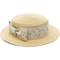 beautifulplace - Amelia - Cream Girls Floral Bow Paper St - Hat -