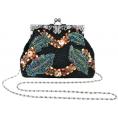 MG Collection Hand bag -  Antique Handmade Seed Beaded Leaf Rhinestone Encrushed Kiss Clasp Frame Soft Clutch Evening Bag Handbag Purse with Detachable Shoulder Chain Black