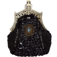 MG Collection - Antique Victorian Applique Plated Brooch Beaded Clasp Purse Clutch Evening Handbag w/2 Detachable Chains Black - Clutch bags - $27.92