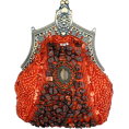 MG Collection - Antique Victorian Applique Plated Brooch Beaded Clasp Purse Clutch Evening Handbag w/2 Detachable Chains Red - Clutch bags - $29.50