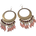 Mary Cheffer - BEAD, BRASS DROP EARRINGS-BRWN - Earrings - $17.00