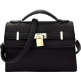 Mary Cheffer - BLACK FAUX LOCK BELTED SATCHEL - Hand bag - $62.00
