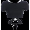 FECLOTHING - Basic halter strap short-sleeved T-shirt - Shirts - $17.99