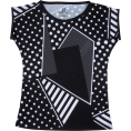 PINaR ERIS - Black And White Polka Dots Geo Print Tee - T-shirts - $46.00