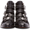 vespagirl - Black studded ankle motorcycle boots - Boots - $89.25