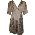 PacificPlex Dresses -  Block Print Sublimation Mini Dress Junior Plus Size Khaki