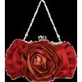 MG Collection - Blossom Rose Rhinestones Clasp Closure Soft Evening Bag Baguette Clutch Handbag Purse Shoulder Bag w/2 Chain Straps Red - Bolsas pequenas - $22.50  ~ 19.32€
