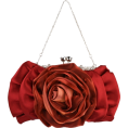 MG Collection - Blossom Rose Rhinestones Clasp Closure Soft Evening Bag Baguette Clutch Handbag Purse Shoulder Bag w/2 Chain Straps Red - Torbice - $22.50  ~ 19.32€