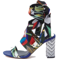 Evelin  - Blue tropical tie up block heel sandals - Sandals -