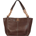 lence59 - Brown Chanel Leather Wooden-Chain Tote - Carteras -