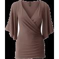 Bev Martin - Brown Wrap Style Shirt - Srajce - kratke -