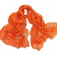 MaiKun - Butterfly Print Womens Long Cotton Scarf Light Weight Scarf Orange - Scarf - $18.00