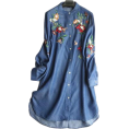 lence59 - Casual Colored Flower Embroidery Denim - Dresses -