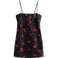 FECLOTHING - Cherry Printed Satin Dress - Dresses - $23.99