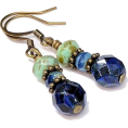 riagr - Cobalt Sapphire Blue Glass Bead Earrings - Earrings - $15.75
