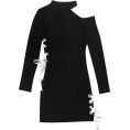 FECLOTHING - Cutout Strap Slim Thin Long Sleeve Dress - Dresses - $27.99