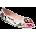 Maxines - Dolce & Gabbana Rose Print Leather Flats - Balerinke -