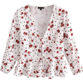 FECLOTHING - Dot Cherry Printed Chest Lace-Up Shirt - Shirts - $25.99