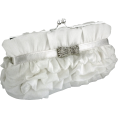 MG Collection - Empress Princess Ruffle Rhinestone Bow Tie Clasp Clutch Baguette Handbag Evening Bag Purse w/2 Detachable Chains White - Clutch bags - $25.50